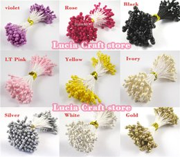 Wholesale Decoration Cake Pearls - Wholesale- 288pcs 3mm multi colors options pearl flower stamen pistil cake decoration for DIY Double heads 11030301(288)