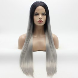 Wholesale Ombre Tie - Iwona Hair Straight Extra Long Dark Root Grey Ombre Wig 22#1 0906 Half Hand Tied Heat Resistant Synthetic Lace Front Wigs