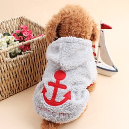 Wholesale Fleece Dog Sweaters - Dog clothing Anchors Series Pet Clothes Fall Winter Pet Clothes Coral Fleece pets Hooded Dog Sweater