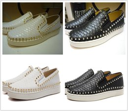 Wholesale Patent Leather Boat Shoes - DHL Free Shipping Red Bottom Slip-on Flats Pik boat Python Leather Fashion Shoes Luxury snakeskin designer sneaker party time casual shoes