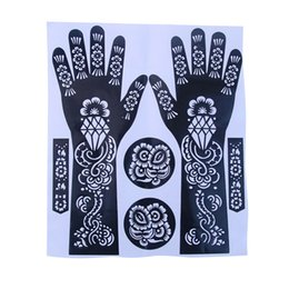 Wholesale Temporary Tattoo Sets - Wholesale- New Sale Easy Use India Henna Temporary Tattoo Stencils Flower Design For Hand Leg Arm Feet Body Art Decal 23*27cm 1 Set