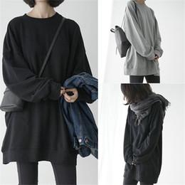 2019 mujeres holgadas sudaderas Harajuku moda sudadera con capucha de algodón sólido de gran tamaño sudaderas negras mujeres sueltas suelta hombro de hombro jersey mujer primavera otoño mujeres holgadas sudaderas baratos