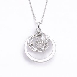 Wholesale Two Tone White Gold Chain - Two Tone Elegant Rose Flower Pendant Necklace With Rhinestone Free 24 Inches Chains For Women Valentine'S Day Gifts