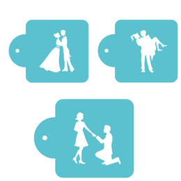 Wholesale Coffee Stencils - Wedding Bride And Groom Dancing Sugar Icing Sieve Mode Baking Tiramisu Cake Decorating Stencil Spray Coffee Template ZA2977