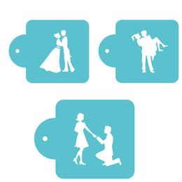 Wholesale Stencil Cakes - Wedding Bride And Groom Dancing Sugar Icing Sieve Mode Baking Tiramisu Cake Decorating Stencil Spray Coffee Template ZA2977