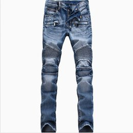 Wholesale Moto Biker - Wholesale-Men Fashion Brand Designer Ripped Biker Jeans man Distressed Moto Denim Joggers Washed Pleated motorcycle Jeans Pants Black Blue