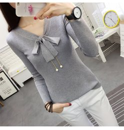Wholesale Thin White Pearl Belt - Women's Knitting Sweaters Autumn Fashion Slim Long Sleeve Female Hedging Sweater Tops Blusa