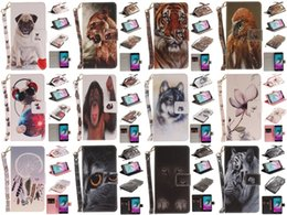 Wholesale Monkey Cards - Wolf Owl Tiger Lion Dog Monkey Painted Cover PU Leather Wallet Card slot Stand Case For Samsung Galaxy A5 2016 A510