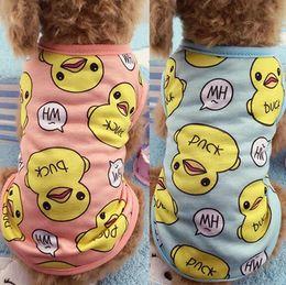 Grandes sudaderas para perros online-Nueva Ropa para Perros Mascota Cachorro Camisa de Primavera Chaleco de Verano Pato Lindo Escudo de Perro Pijama Sudadera Ropa Para Mascotas de Dibujos Animados