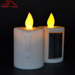 Wholesale Led Candle Flicker - solar led candles memorial solar powered energy candle for cemetery with amber flickering light outdoor candle