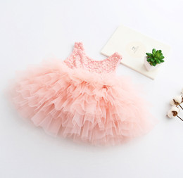Wholesale Chinese Outfits Children - Girls flower lace Pearl dress 2017 baby girl kids party dress Christmas Party Dresses kids princess dresses Children clothing summer outfit