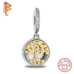 Wholesale Family Locket - BELAWANG 925 Sterling Silver Bead Charm Gold Family Roots two-tone locket Pendant Bead Fit Women Pandora Bracelet Bangle Diy Jewelry