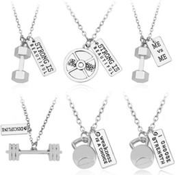 Wholesale Gold Plated Barbell - Strong is beautiful Men Stainless Steel Dumbbell Pendant Necklace Gym Sporty Fitness Titanium Steel Barbell Pendant Necklace Gift AA170