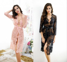 Wholesale Wholesale Apparel For Women - Sexy lingerie black flower lace gown pajamas for women equipment exotic apparel women dress+bra + g string set sleepwear robe