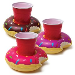Wholesale Deep Reel - Inflatable Donut Coasters PVC Cup holder Water coke cup holder Beverage Boats Big Mouth Swimming holder TA132