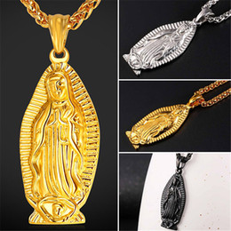 Wholesale Blessing Fashion - U7 Religion Cross Jewelry Fashion Stainless Steel Gold Black Gun Plated Charms Blessed Virgin Mary Pendant Necklace for Women Men Jewelry