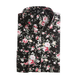 Wholesale Women S Cotton Shirts Blouses - New Women Floral Shirts Cotton Long Sleeve Shirt Women Floral Print Shirt Casual Ladies Blouse Turn Down Collar Women Tops