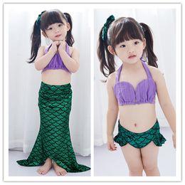 Wholesale Maxi Pants - Big Girls pretty Mermaid Swimwear 3pc set tube top mermaid maxi skirt pants Baby girls performance cosplay costume 6sizes for 2-10T
