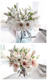 Wholesale Magnolia Flowers - whlosesale 50PCS free shiping hot beautiful emulational Small Magnolia Flower Garden Bonsai Trees Wedding Or Home Desk Or bottle decoration