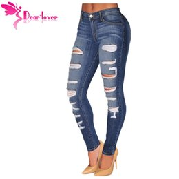 Wholesale Vintage Spandex Pants - Fashion Stretch Blue Denim Destroyed Whisker Wash Skinny Distressed Jeans Women Ripped Pants Calca Feminina LC78648 17410