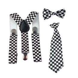 Wholesale Girls Bowties - Wholesale- New Girls Boys Suspender Bowties Bow Ties Adjustable Y-Back Braces Necktie Set Party Wedding 1-8 Years HHtr0004a04
