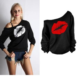 Wholesale Blouse Lips - Wholesale- S-XXXL New 2017 Autumn Women's Hooded Sweatshirts Big Red Lips Sexy Lips Oblique Pattern Blouse Sweatshirts
