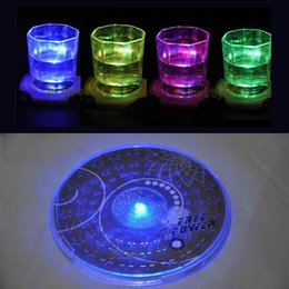 Wholesale Light Up Cups Wholesale - Wholesale-E74 1X LED Coaster Color Change Light Up Drink Cup Mat Tableware Glow Bar Club Party