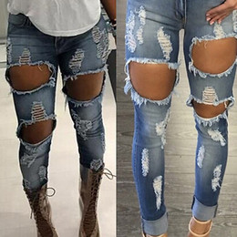 Wholesale Distressed Women Jeans - Wholesale- 2017 Latest Machine Jeans New Womens Ripped Destroyed Distressed Fitted Low Rise Skinnys Hot Sale