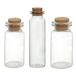 Wholesale Glass Potion Bottles - Wholesale- 5PCs Small Vase Tiny Glass Bottle Jewelry Vial Potion Tie Plug Glass & Wooden Box Wishing Gift Jewelry Storage Box Organizer