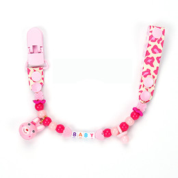 Wholesale Dummy Hands - Wholesale-Personalised -Any name Hand made Funny colourful beads dummy clip holder pacifier clips soother chain for baby DC001