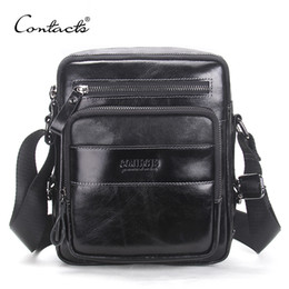 Wholesale Cross Body Cell Phone Bags - CONTACT'S 2017 New Arrival Genuine Wax Leather Men's Cross Body Bag Shoulder Bags For Men Messenger Bag Portfolio High Quality