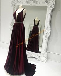 Wholesale Open Back Evening Crystal Dresses - Velvet Formal Evening Dresses 2017 with Deep V Neck and Open V-Back Real Photo Beaded Burgundy Prom Dress Custom Made Runway Fashion Gowns