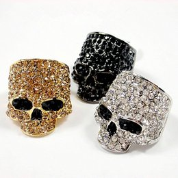 Wholesale Skulls Punk Rock Rings - Wholesale- Brand Skull Rings For Men Rock Punk Unisex Crystal Black Gold Color Biker Ring Fashion Skull Jewelry Wholesale