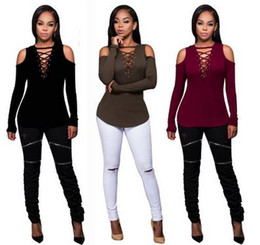 Wholesale Cut Off T Shirts - Summer Sexy Tee Shirts Femme Off Shoulder T-Shirt Women Hollow Out Cut Shoulder Long Sleeve Tees Tops Cotton 2017 Cotton Fashion Slim Tops