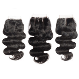 Wholesale Dyed Peruvian Lace Closure - Peruvian Virgin Hair Body Wave 4*4 Lace Top Closure Middle part Natural Color Can be Dyed Lace closure