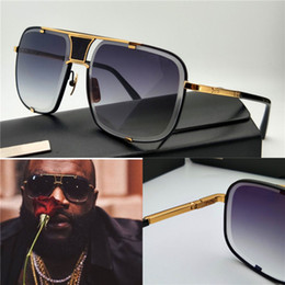 Wholesale new men brand designer sunglasses D T mach five titanium sunglasses K gold plated vintage retro style square frame crystal lens top one