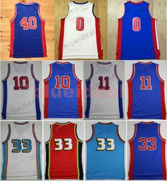 Wholesale Red Bills - Mens Throwback Basketball Jerseys Blue White Isiah Thomas Dennis Rodman Bill Laimbeer Embroidery Jersey Grant Hill Shirt Andre Drummond
