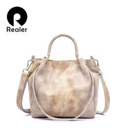 Wholesale Hobo Tote Pattern - Wholesale- REALER brand genuine leather women shoulder bag female gold python pattern tote bag women messenger bag with tassel