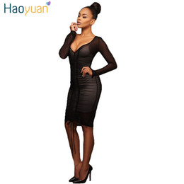 Wholesale Women S Transparent Mesh Dress - 2017 Summer Sexy Deep-V Bodycon Transparent Black Mesh Bandage Dress Vestidos Women Long Sleeve Club Short Party Dresses 17301