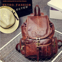 Wholesale Ladies Leather Drawstring Bag - Wholesale- travel men back pack vintage leather backpack student waterproof drawstring school bag ladies laptop backpack cartable