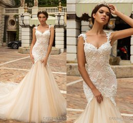 Wholesale Lace Mesh Bridal - 2017 Robe De Soiree Court Train Tulle Outdoor Wedding Dresses Mesh Back Appliques Sweetheart Spaghetti Strap Mermaid Bridal Gowns Custom