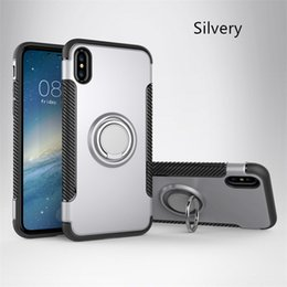 Wholesale Transparent Car Cover - Ring Holder Moblie Phone Case For IPhone X 8 7 Plus Magnetic Car Holder TPU PC Shockproof Armor Case Cover For Samsung Galaxy S8 S7 Note 8