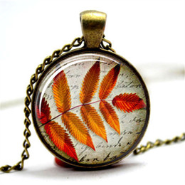 Wholesale Jewelry Leaves Pendants - 10pcs lot Leaf Jewellery Fall jewelry Autumn Leaves 2Glass Photo Cabochon Necklace
