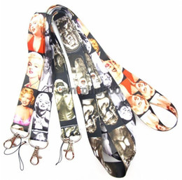 Wholesale Marilyn Monroe Lanyards - Hot !50pcs Mix Celebrity Marilyn Monroe Lanyard  MP3 4 cell phone  keychains  Neck Strap Lanyard WHOLESALE Free shipping