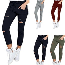 Wholesale Women Stretch Pants - 2017 New Female Trousers Women Hole leggings Ripped Pants Slim Stretch Drawstring Trousers Pants Army Green Tights Pants CL019