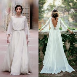 Wholesale Low Cut Backless Wedding Dresses - 2017 Bohemian Wedding Dresses Cheap Square Neck A Line Low Cut Back 3   4 Bell Sleeves Flowy Chiffon Lace Hem Country Wedding Dresses