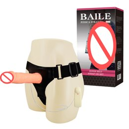 Wholesale Game Sex Vibrator - BAILE Strap On Harness Dildo With Vibrator Sex Toys For Lesbian Adult Games Realistic Penis For Couples Vibrating Dong Panties BW-010025