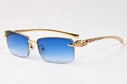 Wholesale Plastic Half Round - occhiali 2017 vintage famous brand designer semi rimless Flat Top glasses men women leg sunglasses gold metal frame unisex with Case