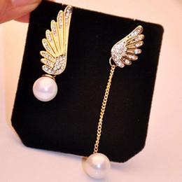 Wholesale Woman Ear Accessories - Women Elegant Wings Rhinestone Ear Stud Gold Plated Dangle Earrings Jewelry Asymmetric Angel Wings Earing Pearl Earring Ear Ring Accessories