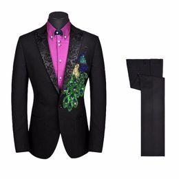 Vestiti unici adatti online-All'ingrosso 2017 di marca di modo misura sottile rivestimento nero pantaloni vestito convenzionale Gli uomini sono adatti unico ricamato smoking dello sposo su misura plus è adatto al formato